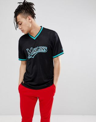 New Era - Florida Marlins- T-shirt van mesh in zwart
