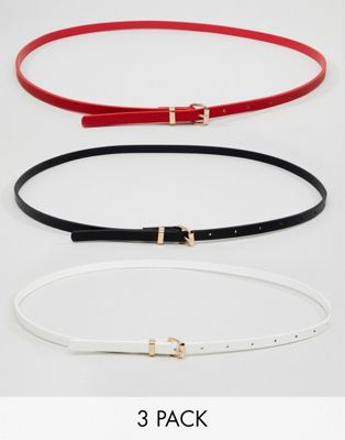 New Look 3 Pack Skinny Belts