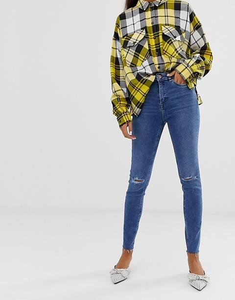 New Look – Abgeschnittene Jeans mit Zierrissen in Blau