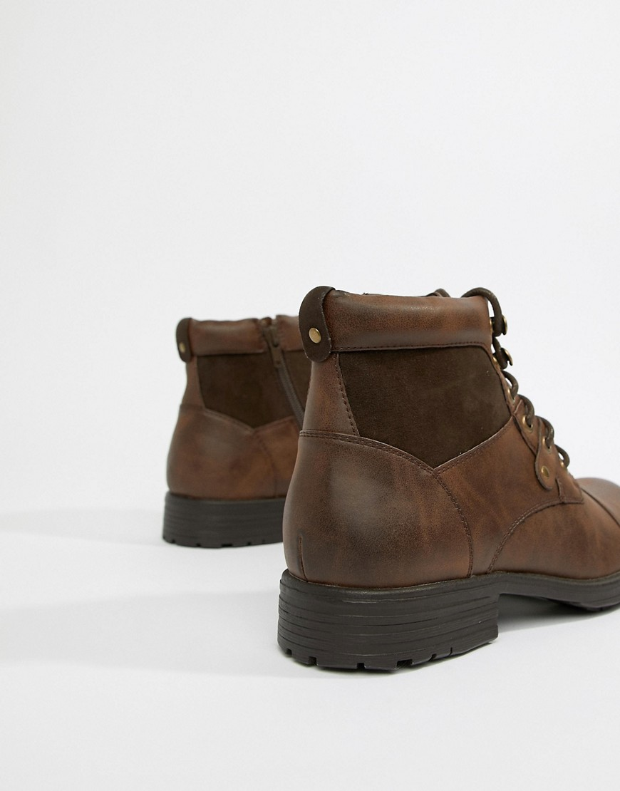 New Look Boots With Zip Detail In Brown by New Look