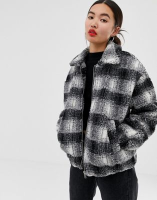 New Look brushed check teddy borg coat in black