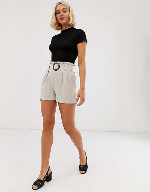 New Look buckle detail short in stone