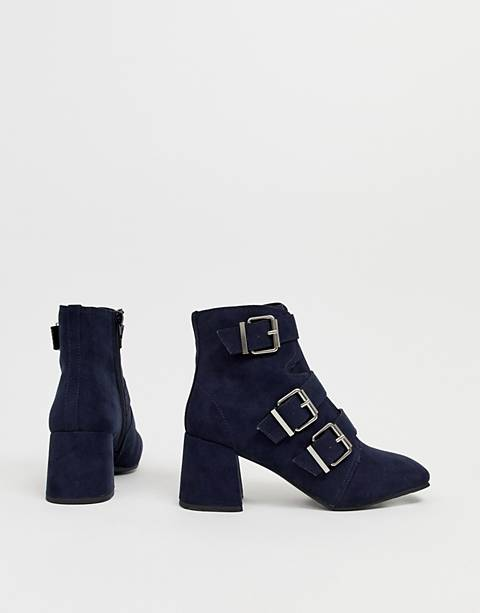 New Look buckle heeled boot in navy