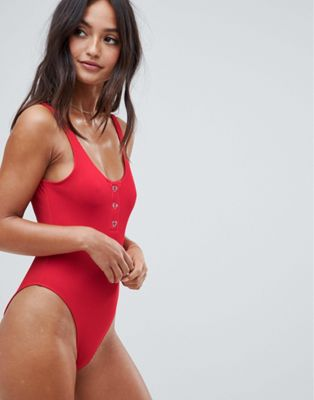 Image 1 of New Look Button Up Swimsuit