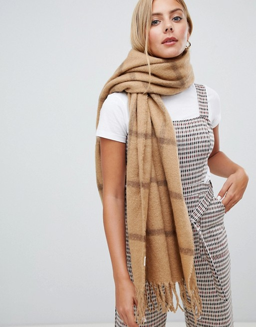 Image 1 of New Look Camel Grid Scarf