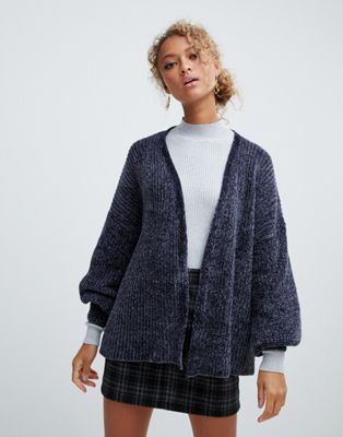 Image 1 of New Look chenille cardigan in grey pattern