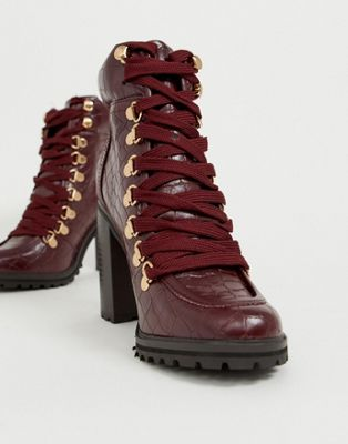 New Look chunky croc heeled boot in dark red
