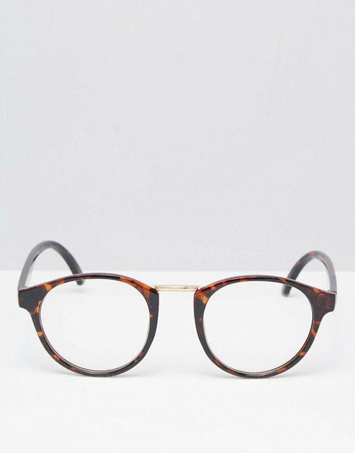 24c7f7598f New Look Clear Lens Round Glasses In Tortoiseshell