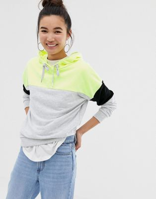 New Look color block hoody in neon