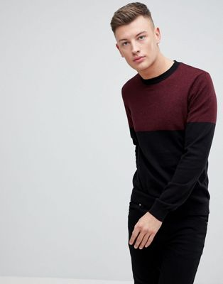 New Look Colour Block Jumper In Burgundy And Navy
