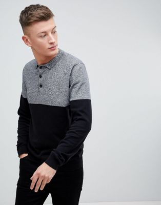New Look Colour Block Polo Shirt In Grey And Black