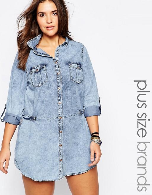 New Look Curve Acid Wash Denim Shirt Dress