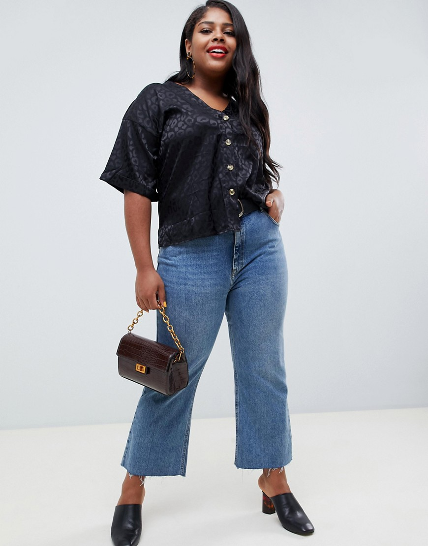 New Look Curve Animal Jacquard Shirt In Black by New Look Curve