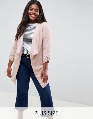 Bild 1 von New Look Curve – Blazer in Rosa mit Wasserfallausschnitt