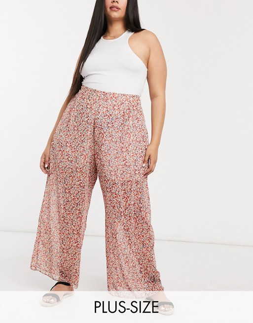 New Look Curve chiffon wide leg trouser in ditsy floral