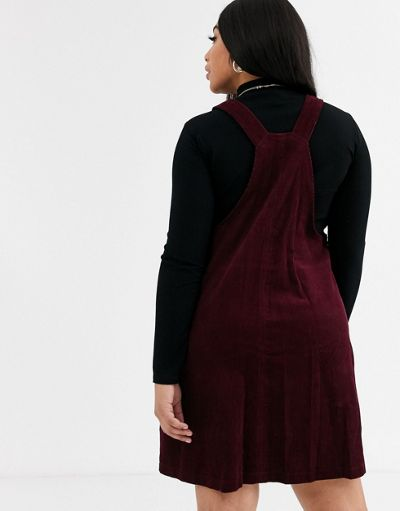 New Look Curve cord pinny in burgundy