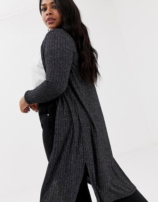 75d7c25dbcdc New Look Curve midi cardigan in black pattern | ASOS