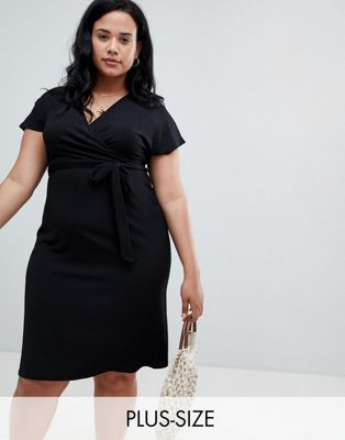 New Look Curve Rib Wrap Dress