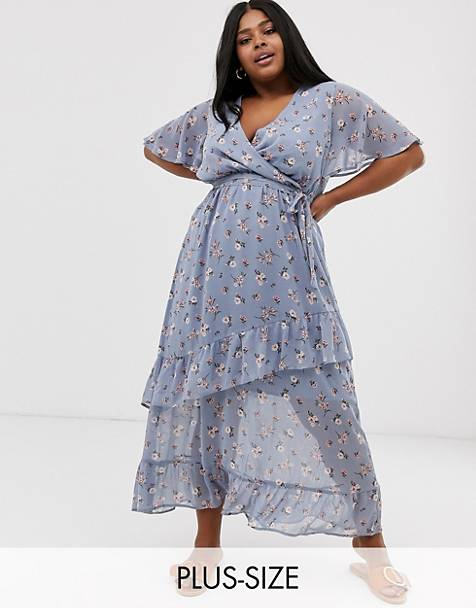 New Look Curve ruffle maxi dress in blue ditsy floral