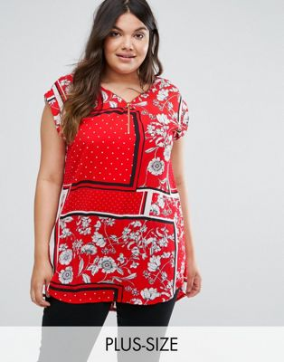 New Look Curve Scarf Print Tunic Top