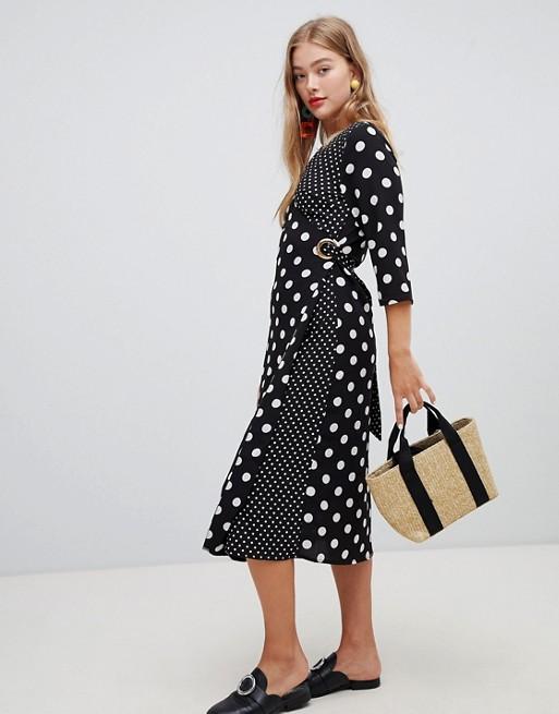 New Look – Czarna sukienka midi w różne rodzaje groszków 8754219