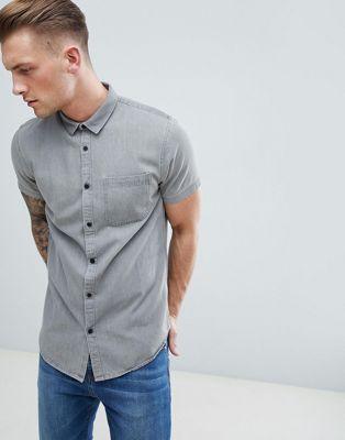 New Look Denim Shirt In Gray