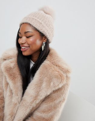 New Look Faux Fur Pom Pom Bobble Hat