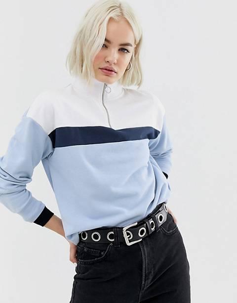 New Look half zip sweat in blue