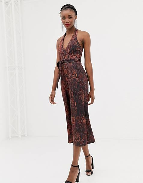 f351b2841b New Look halterneck jumpsuit in snake print