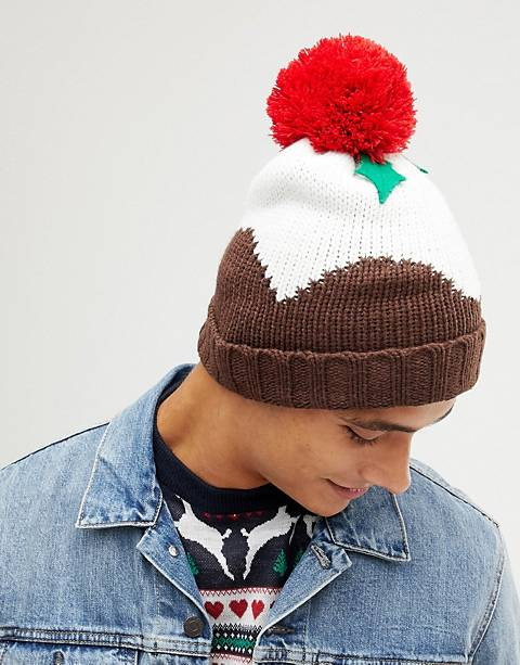 New Look Holidays pudding beanie in brown
