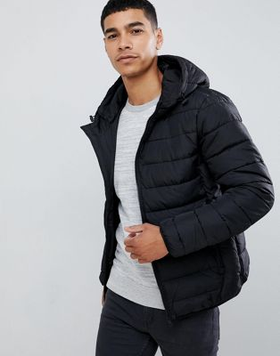 New Look hooded puffer jacket in black