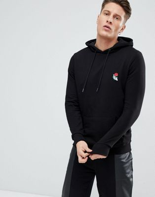 New Look Hoodie With Rose Embroidery In Black