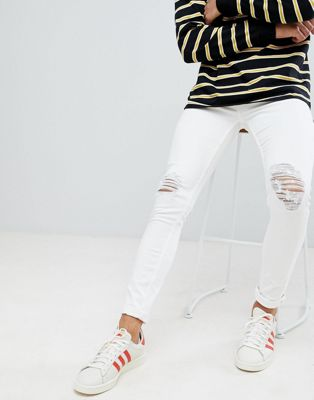 New Look - Jeans skinny bianchi con ginocchia strappate