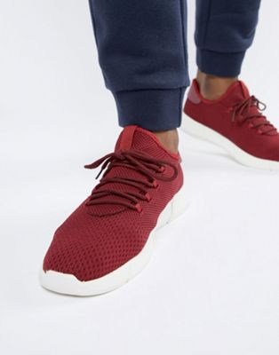 New Look Knitted Detail Trainers In Burgundy