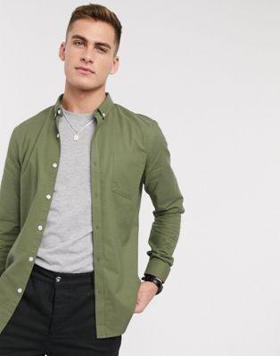 New Look – Langärmliges Oxford-Hemd aus Bio-Baumwolle in Khaki-Grün