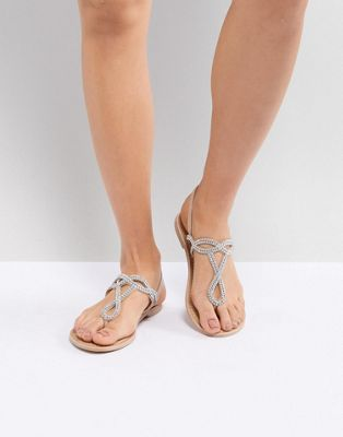 New Look Leather Look Embellished Toe Post Flat Sandal