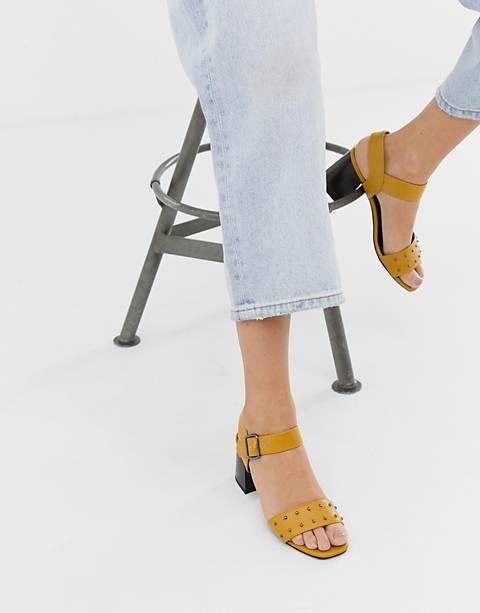 New Look leather look stud low block heeled sandal in ochre
