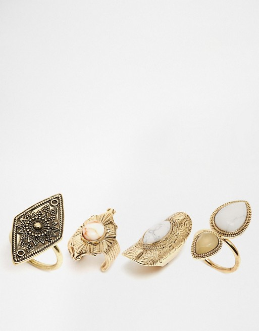 New Look - Lot de plusieurs bagues 70s opale et howlite