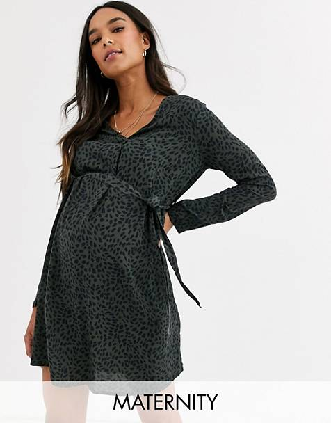 New Look Maternity belted shirt mini dress in green spot