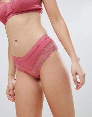 New Look Maternity Fine Rib & Lace Brazilian Brief