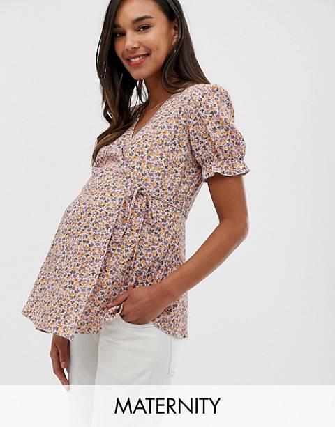New Look Maternity – Lila, blommig topp med volang