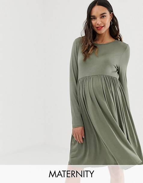 e1a64044ad8 New Look Maternity long sleeve smock dress in green