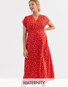New Look Maternity shirred midi dress in red ditsy floral