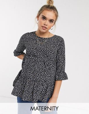 New Look Maternity smock peplum blouse in black pattern