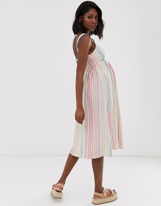 cbc28738b062f New Look Maternity stripe linen midi dress in white pattern | ASOS