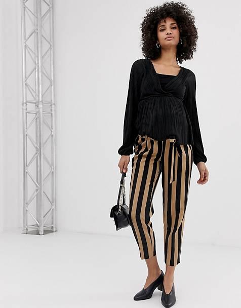 f851a139e725d3 New Look Maternity stripe tie waist trousers in black pattern