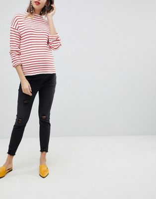 New Look Maternity Under Bump Ripped Jeans