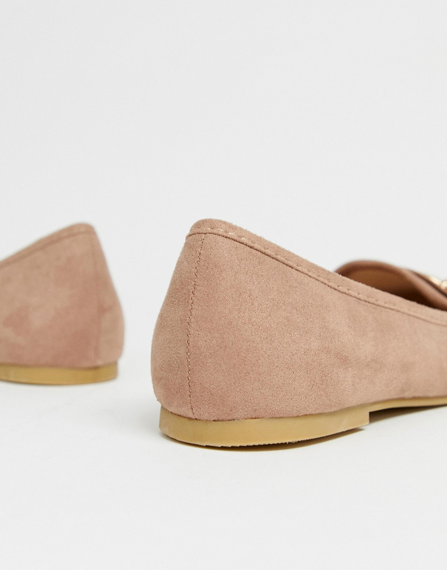 New Look Metal Detail Loafer In Light Pink by New Look