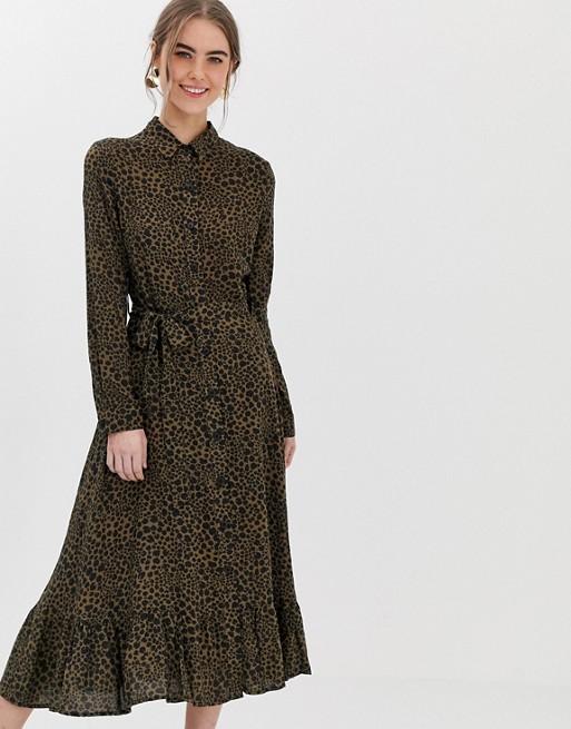 New Look midi shirt dress in print