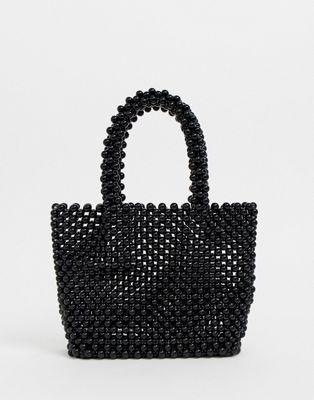 New Look - Mini tote en perles - Noir
